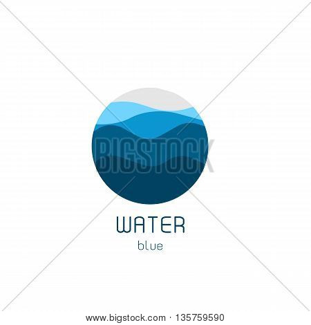 Isolated round shape logo. Blue color logotype. Flowing water image. Sea, ocean, river surface