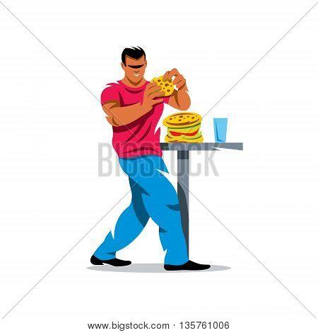 Man eating hamburger. Isolated on white background.