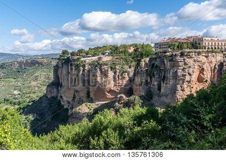 View of El Tajo with Parador de Ronda now a hotel.