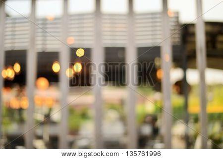 blur ligh refection on mirror at restaurant background