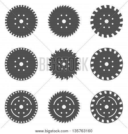 Abstract vector illustration.Black circular saw blade icons.Saw blade.
