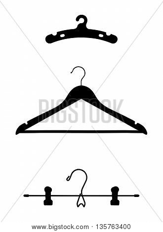 Clothes Hangers Vector Illustrations Isolated on White Background