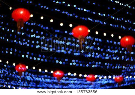 blur chinese lantern and blue ligh background