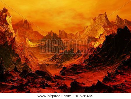 Terrain created after a volcano