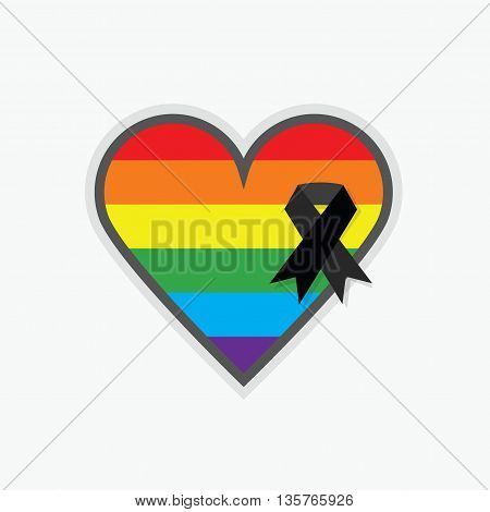 Rainbow pride flag Pattern in shape of a heart with black ribbon icon on white background