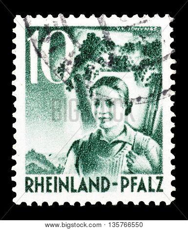 RHEINLAND - CIRCA 1948 : Cancelled postage stamp printed by Rheinland, that shows woman.