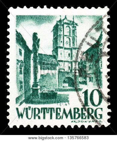 WURTTEMBERG - CIRCA 1948 : Cancelled postage stamp printed by Wurttemberg, that shows Wangen city.