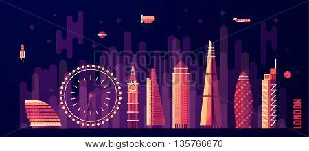 London England city skyline vector illustration flat style