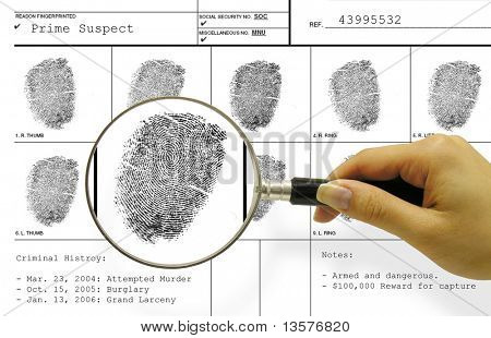 A photo of a woman with a magnifying glass inspecting a fingerprint card