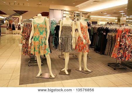A photo of manequins displaying the latest fashion