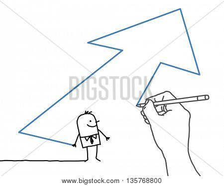 Drawing big hand and  businessman - direction arrow