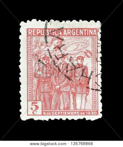 ARGENTINA - CIRCA 1930 : Cancelled postage stamp printed by Argentina, that shows Spirit of victory attending insurgents.
