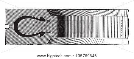 Mold heeled bandage, vintage engraved illustration. Industrial encyclopedia E.-O. Lami - 1875.