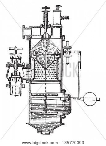 Heater Weir, vintage engraved illustration. Industrial encyclopedia E.-O. Lami - 1875.