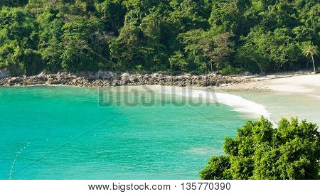 Sea and mountain. Unseen perspective beautiful viewpoint of sea island. Tropical island. Thailand. Summer time concept.