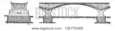 Transverse and longitudinal sections of the bridge Topeka, vintage engraved illustration. Industrial encyclopedia E.-O. Lami - 1875.