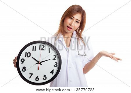 Angry Young Asian Female Doctor With A Clock