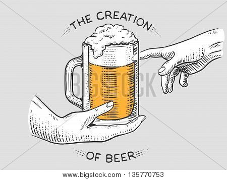 Hands with cup of beer engraving vector illustration. Scratch board style imiation.