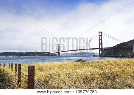 Looking across the bay at the Golden Gate Bridge
