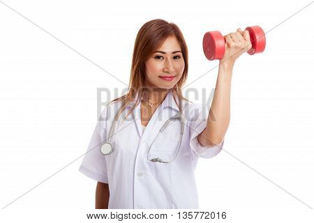 Young Asian Female Doctor Wear Mask With Dumbbell