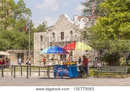 SAN ANTONIO USA - APR 11: The Alamo Mission in San Antonio. April 11 2016 in San Antonio Texas United States