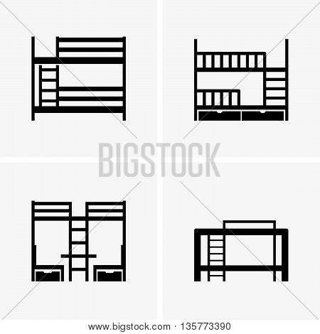 Set of four bunk beds on grey background