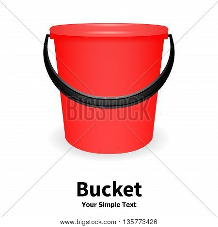 Vector illustration of red bucket isolated on white background. Plastic bucket with a black handle. Bucket for watering.