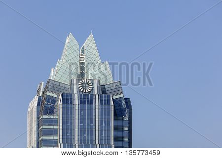 AUSTIN TX USA - APR 11: The 157 m tall Frost Bank Tower skyscraper in the city of Austin. April 11 2016 in Austin Texas United States