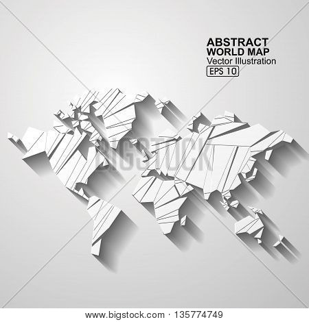 Abstract world map, Origami effect,Business vector illustration.