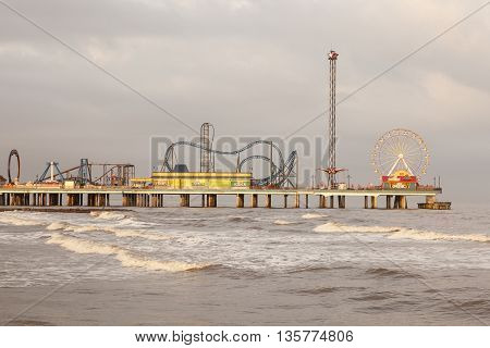 GALVESTON USA - APR 13: Galveston Island historic Pleasure Pier on the Gulf of Mexico coast in Texas. April 13 2016 in Galveston Texas United States