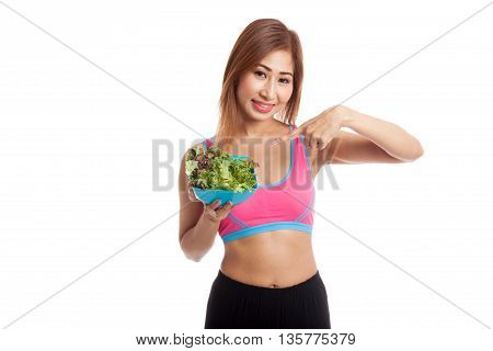 Beautiful Asian Healthy Girl Point To Salad