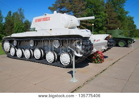 KIROVSK, RUSSIA - JUNE 08, 2015: Soviet tanks KV-1 and BT-5 the period of the Great Patriotic War, Historical landmark of the Leningrad region