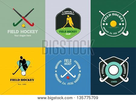 Field hockey logo set. Vector sport badges with man silhouette, stick and hockey ball.