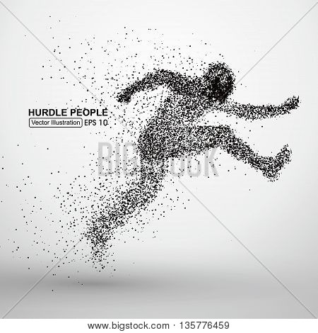 Hurdle people, Particles,  Positive implication, vector illustration.
