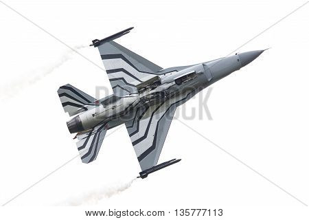 LEEUWARDEN THE NETHERLANDS-JUNE 10 2016: Belgium - Air Force General Dynamics F-16 AM at the Dutch Airshow on June 10 2016 at Leeuwarden Airfield The Netherlands.