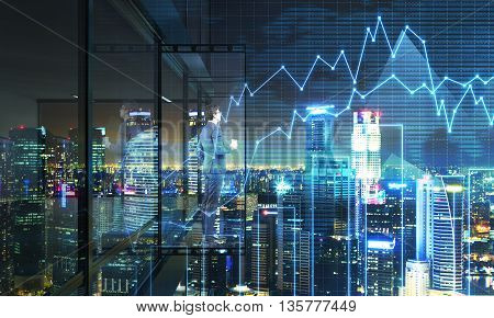 Young fund manager with coffee cup looking into the distance from empty balcony interior on Singapore city and business chart background at night. 3D Rendering