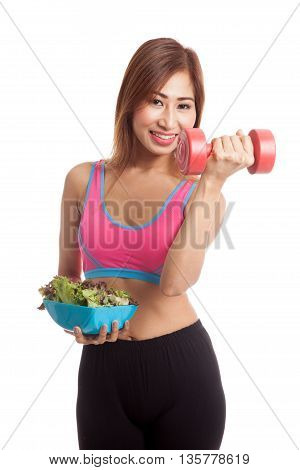 Beautiful Asian Healthy Girl With Dumbbell And Salad