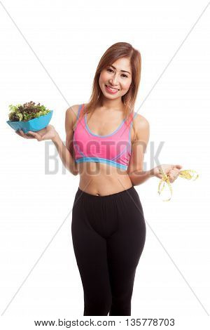 Beautiful Asian Healthy Girl With Measuring Tape And Salad