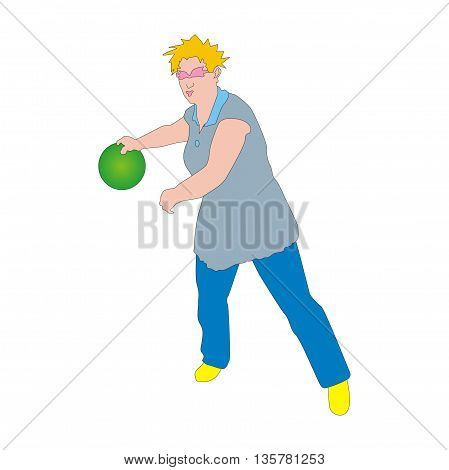 Illustration player at tenpin bowling swings with a green ball
