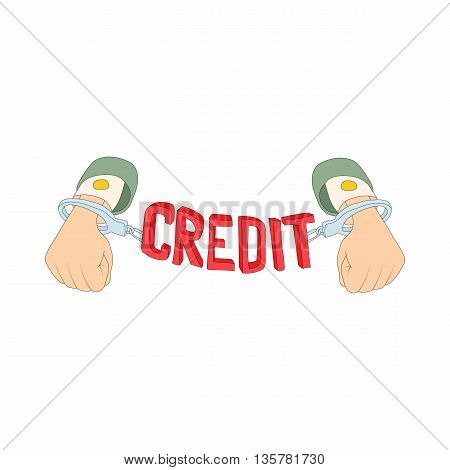 Hands with handcuffs and credit lettering icon in cartoon style on a white background