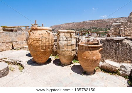 The Pithoi or storage jars at the Knossos palace on the island of Crete Greece.