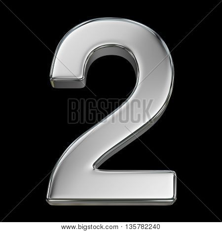 3d rendering, metal number collection - two, from chrome solid material.