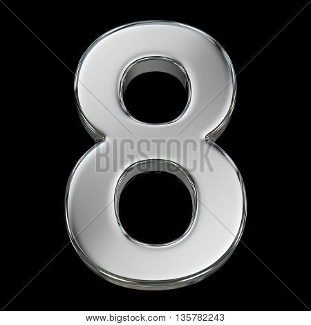 3d rendering, metal number collection - eight, from chrome solid material.