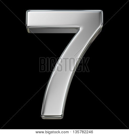 3d rendering, metal number collection - seven, from chrome solid material.
