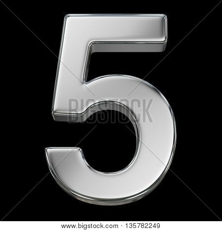 3d rendering, metal number collection - five, from chrome solid material.