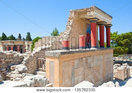 Knossos palace with the bull at the background on the Crete island Greece.