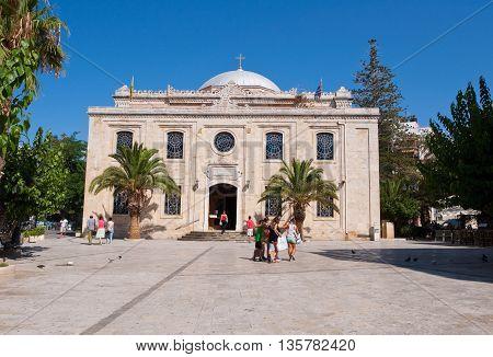 HERAKLION CRETE-JULY 25:The basilica of St. Titus on July 252014 in Heraklion on the Crete island Greece.
