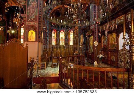 HERAKLION CRETE-JULY 25: Interior of the Monastery of Panagia Kalyviani on July 25 in Heraklion on the Crete island Greece. The Monastery of Panagia Kalyviani is located 60km south of Heraklion.