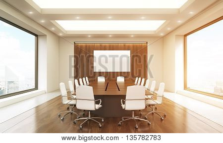 Front view of concrete and wooden conference room interior with blank whiteboard table chairs ceiling with lamps and windows with New York city view. Toned image. Mock up 3D Rendering