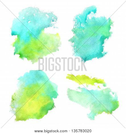 Four blue and green watercolor elements for your design